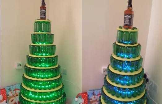 Ένα χριστουγεννιάτικο δέντρο από μπουκάλια μπίρας