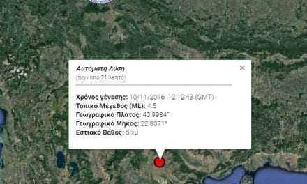 Ισχυρός σεισμός 4,5 Ρίχτερ με επίκεντρο το Κιλκίς – Έγινε αισθητός και στην Ξάνθη