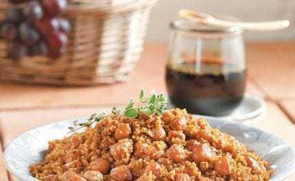 Γεωργία Κοφινά: Πικάντικα ρεβίθια με κουσκούς και πετιμέζι